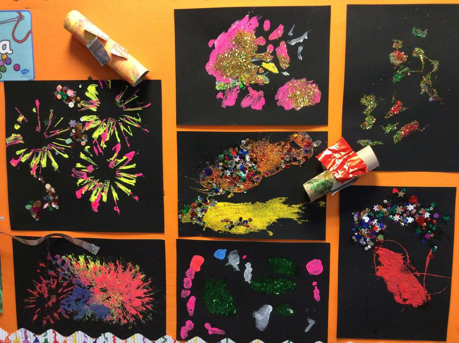 The children enjoyed making firework pictures.