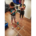Lots of fun and family competition playing active noughts and crosses