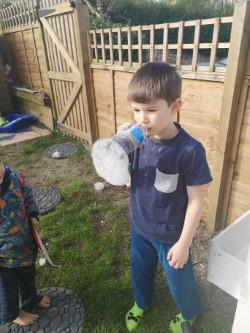 Jacob with his bubble machine