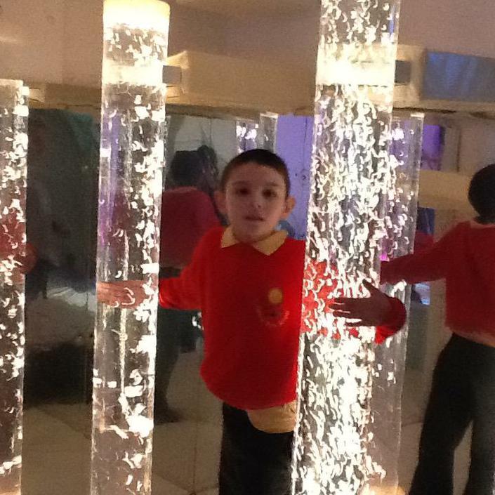 James exploring the bubble tubes