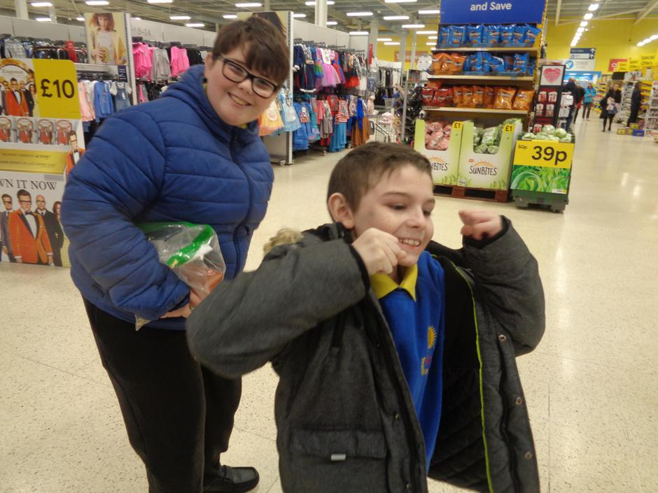 James was excited going to tesco!
