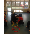 We sorted bean bags in to the correct colour hoop.