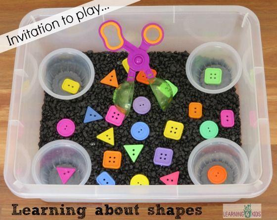 Hide shapes in Past, cereal etc. find the correct container for them to go in