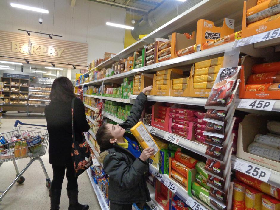 James had to stretch to reach the custard creams!