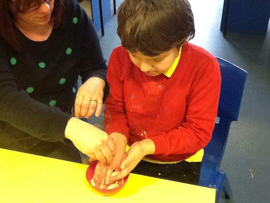 Jack making Reindeer food for our class enterprise
