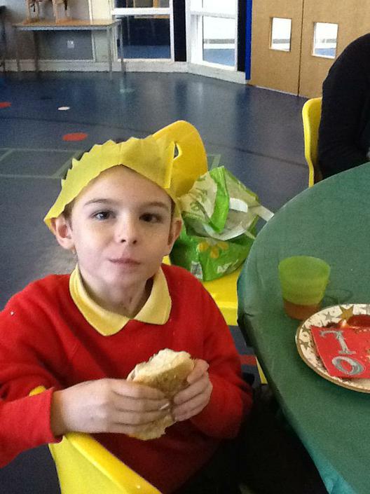 James enjoying the party food