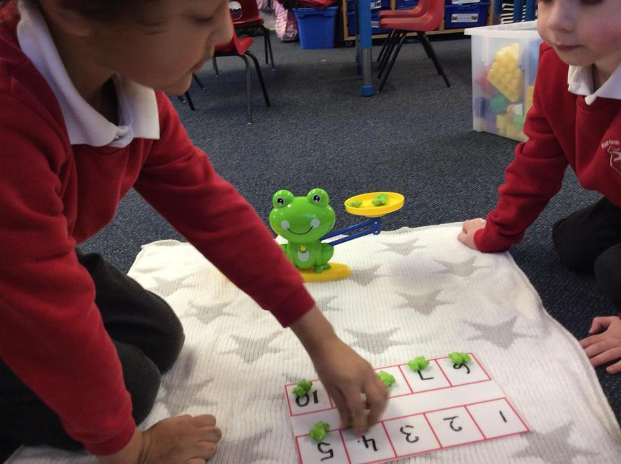 Making the frogs balance and match. Finding totals and adding.