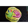 I love this idea, salt dough handprints