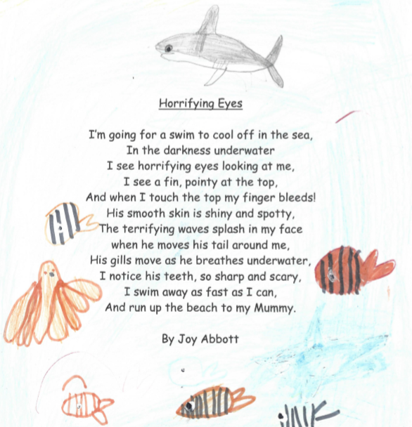 A very atmospheric poem with a fabulous shark!
