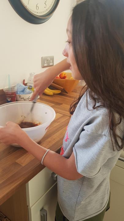Making nutella brownies