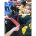 Sewing bookmarks in Class 1