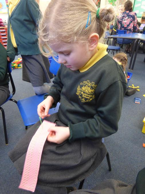 Sewing bookmarks in Elm Class