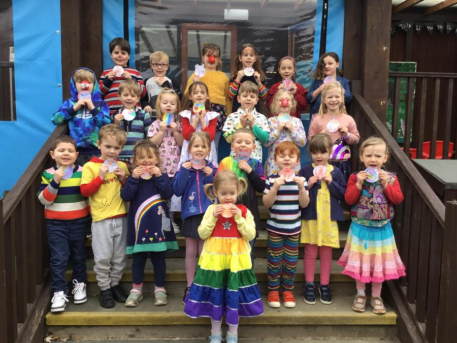 Red Nose Day 2021 -we dressed up in bright rainbow colours.