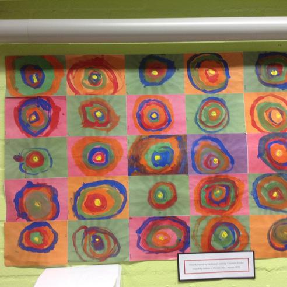 Class art work inspired by Kandinsky