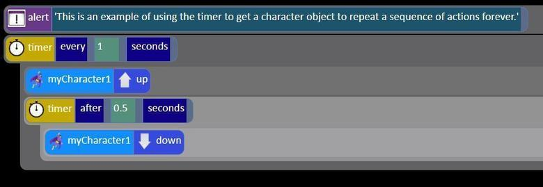 character repeat forever using timer