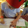 Writing Christmas cards.