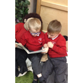 Sharing books with our friends.
