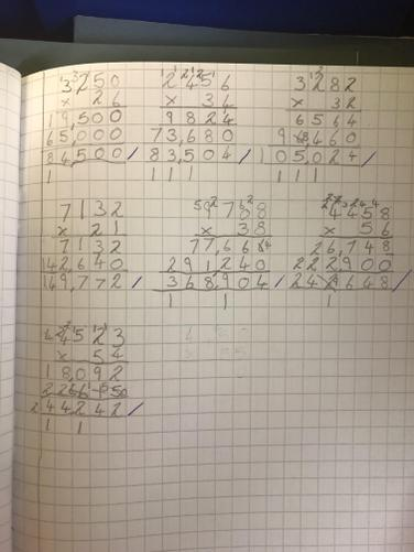 In Maths we have been practicing the formal written method of multiplication.