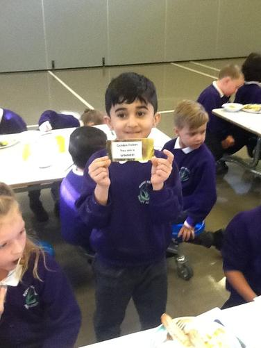 We enjoyed Silly Sausage day on Thursday. Here is the winner of the golden ticket.