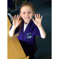 We used glitter to show how easily we spread germs with our hands.