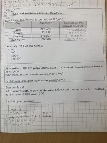 We have been learning about rounding within 1,000,000 in Maths this week.