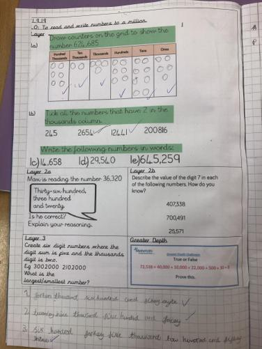 We have completed some great place value work using numbers up to 1,000,000!