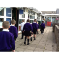 Holly class walking 1km for maths!