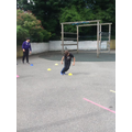 During Sports Day, we completed different challenges such as speed jumping over cones.