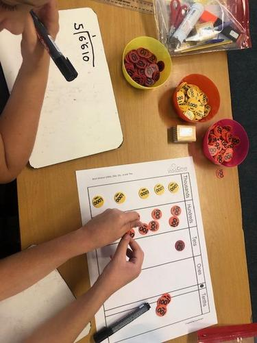 Using place value counters for short division