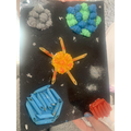 For our fun-filled Friday activity, we made pasta pictures of space!