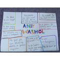 We made artist study pages to learn more about Andy Warhol and his artwork.