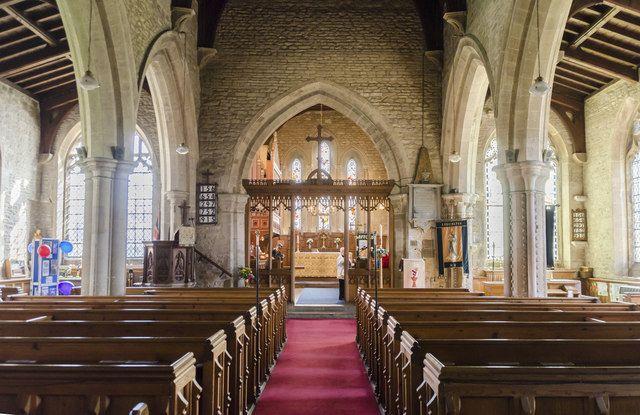 The inside of All Saints Church in Ruskington.