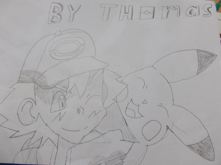 Ash and Pikachu by Thomas