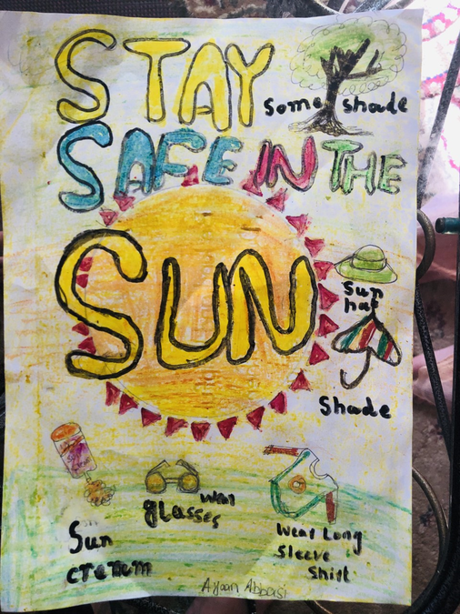 Ayaan A's colourful poster about sun safety
