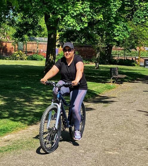 Ms Lamba learning to ride her bike again!