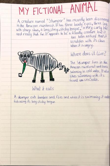 Maanya's description of a fictitious animal