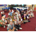 We made party hats and designed cups.