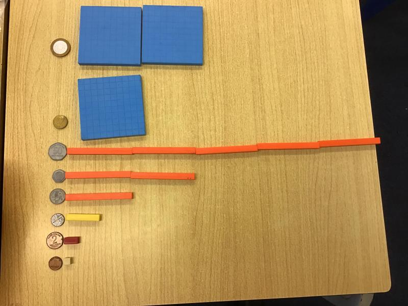 Coins matched to their Cuisenaire rod/diene value
