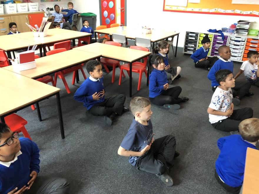 The children took part in a 30 minute yoga session