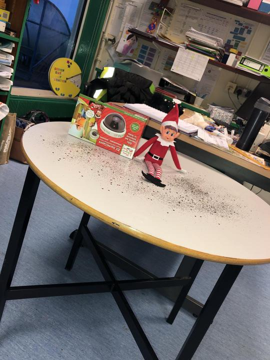 Boots our classroom elf arrived at the end of November.
