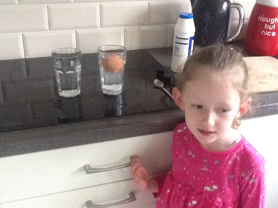 Niamh used salt water to make the egg float