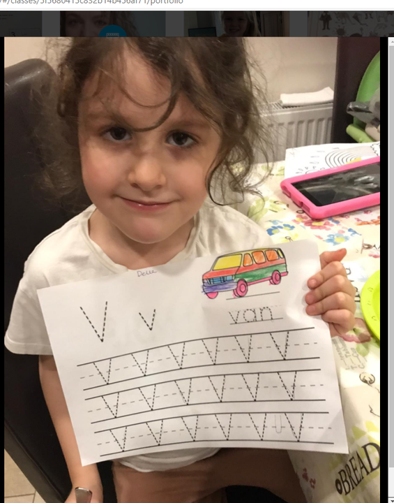 I can write the letter v!