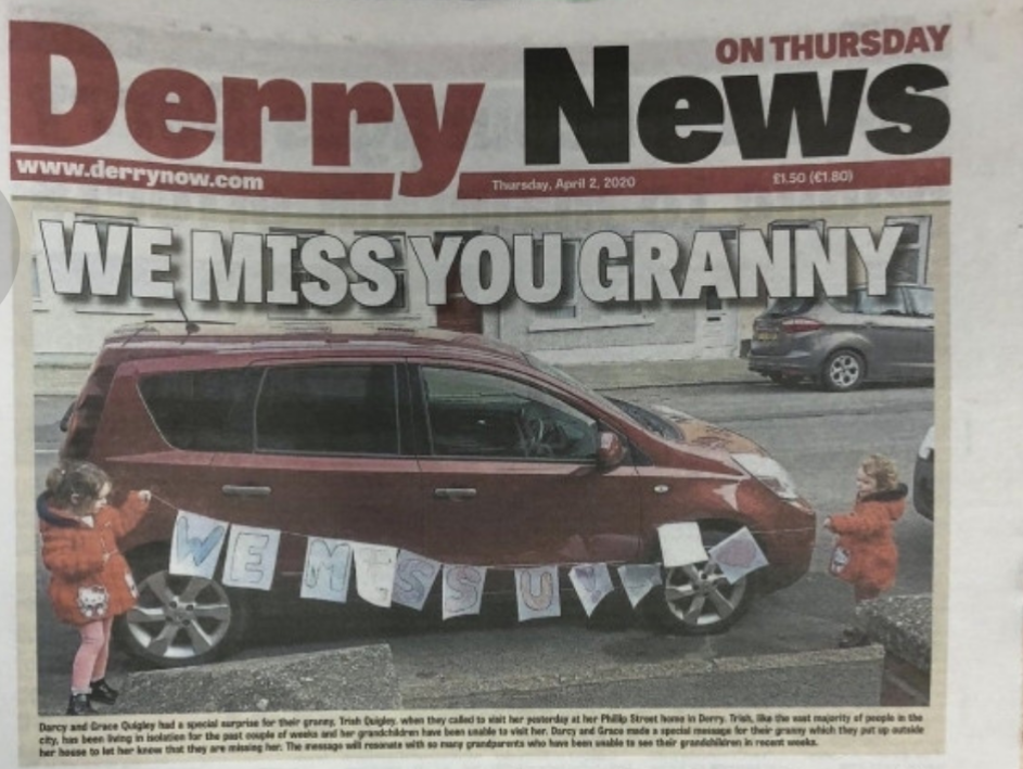 Darcy made the front of the Derry News!