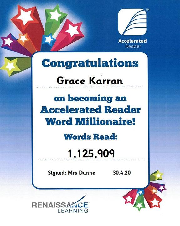 Well done Grace on becoming a word millionaire!