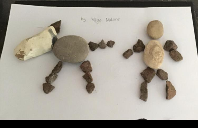 Miya's super stone art work:  walking her dog!🐶