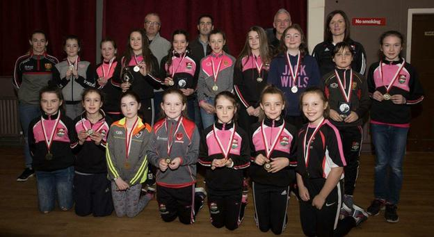The Dundrum U-12 girls panel with their mentors and special guest Chara Laverty.