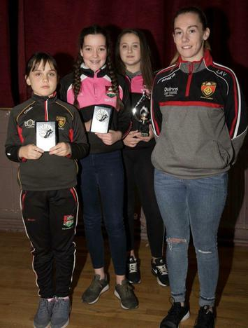 Dundrum U-12 girls award winners from left: Meabh Coughlan (Sportsperson), Cathleen Garland (Joint Most Improved) and Ellen Hillen (Player of the Year). Missing from the photo is Joint Most Improved Mya Brennan.