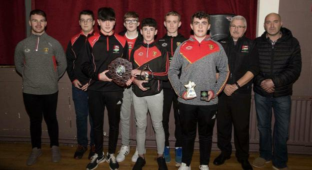 The Dundrum U-16 team and management along with special guest Darragh O'Hanlon who were celebrating their East Down 'B' League success after they won the title in an amalgamated team with St John's.