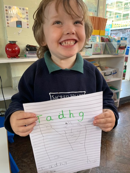 Tadhg has been working on writing his name.