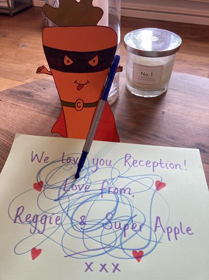 Evil Carrot scribbles on Reggie & Apple's message!